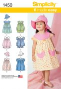 1450 Simplicity Pattern: Toddlers' Dress, Top, Pants and Hat